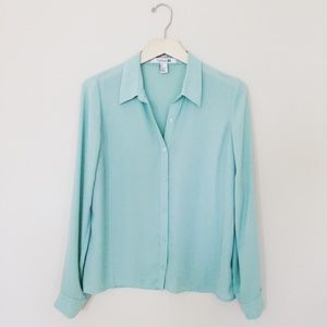 f21 mint blue green long sleeve chiffon buttondown